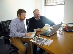 Hugh and Niall at work in Noho's offices