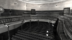 View towards Balcony of digital model of old Abbey Theatre by Hugh Denard (research) and Niall Ó hOisín/Noho (modelling), 2011.