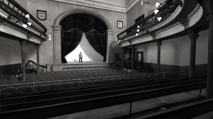 View from Pit of old Abbey Theatre, 1904. Digital model created by Hugh Denard (research) and Niall Ó hOisín/Noho (modelling), 2011.