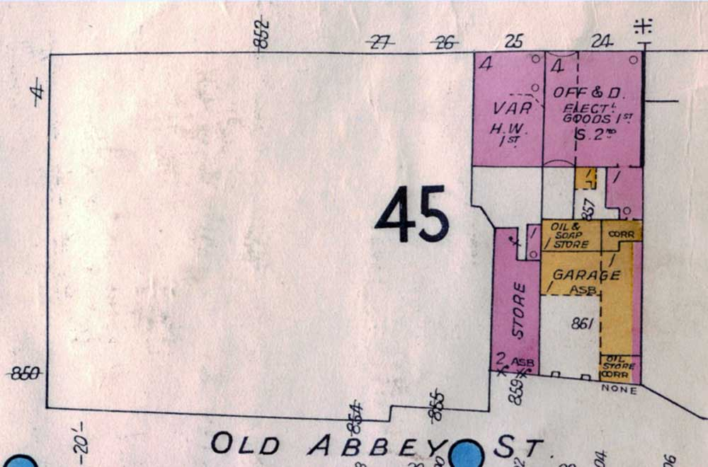 Detail of Fire Insurance Map of Dublin 1 by Charles E. Goad Ltd., 1961 (Sheet 8: 40 feet = 1 inch.) Reproduced from a map in Trinity College Library, Dublin, with the permission of the Board of Trinity College.
