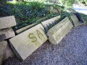 """Stones from Old Abbey Theatre's facade: """"Savings Bank"""""""