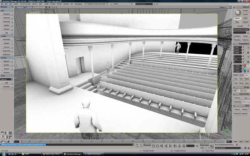 Massing model view from stage