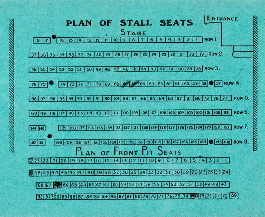 Detail of Ticket Envelope for Stalls and front Pit, old Abbey Theatre. Reproduced Courtesy of the National Library of Ireland.