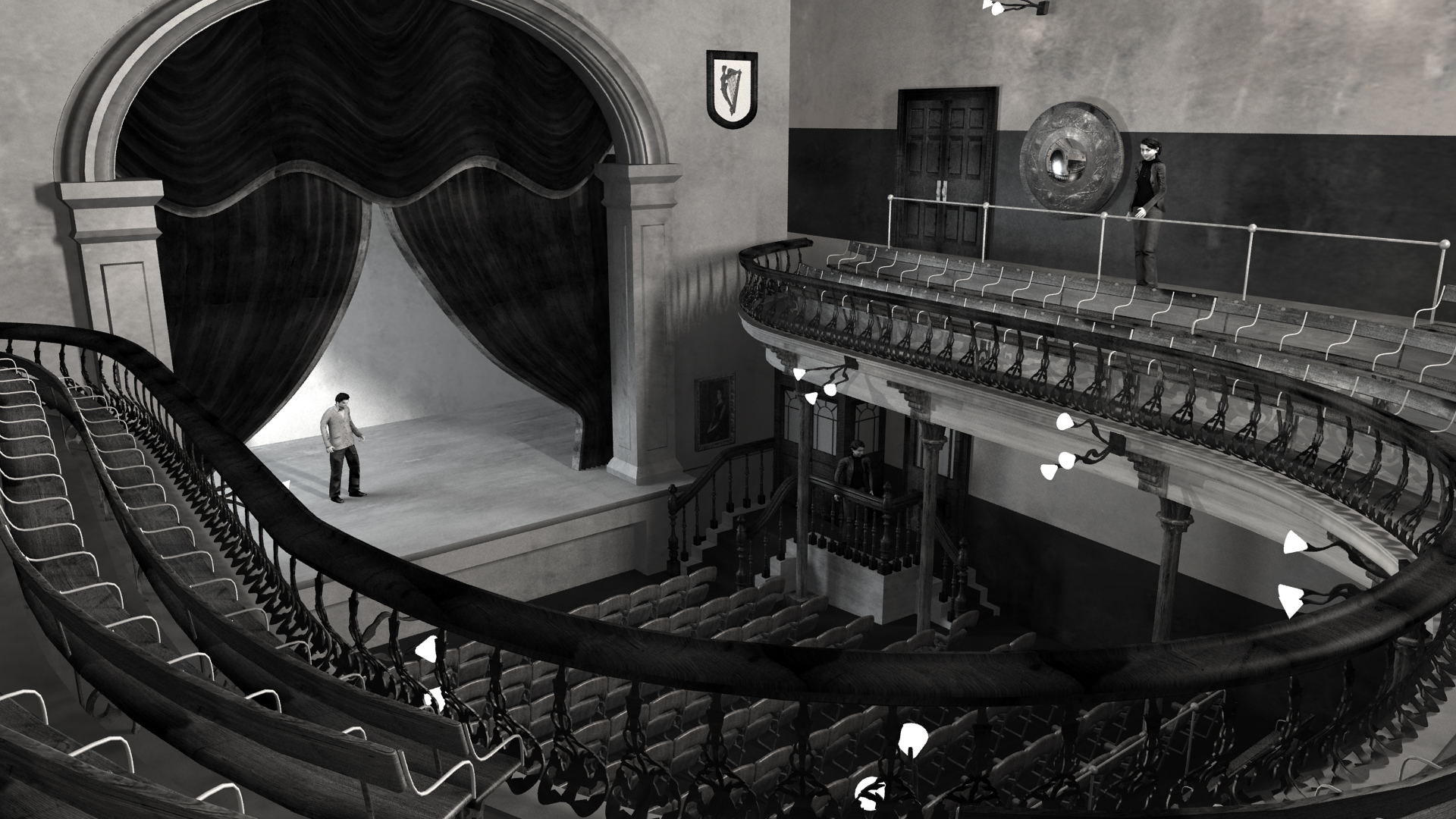View from Balcony of Abbey Theatre, 1904. Digital model by Hugh Denard (research) and Niall Ó hOisín/Noho (modelling), 2011.