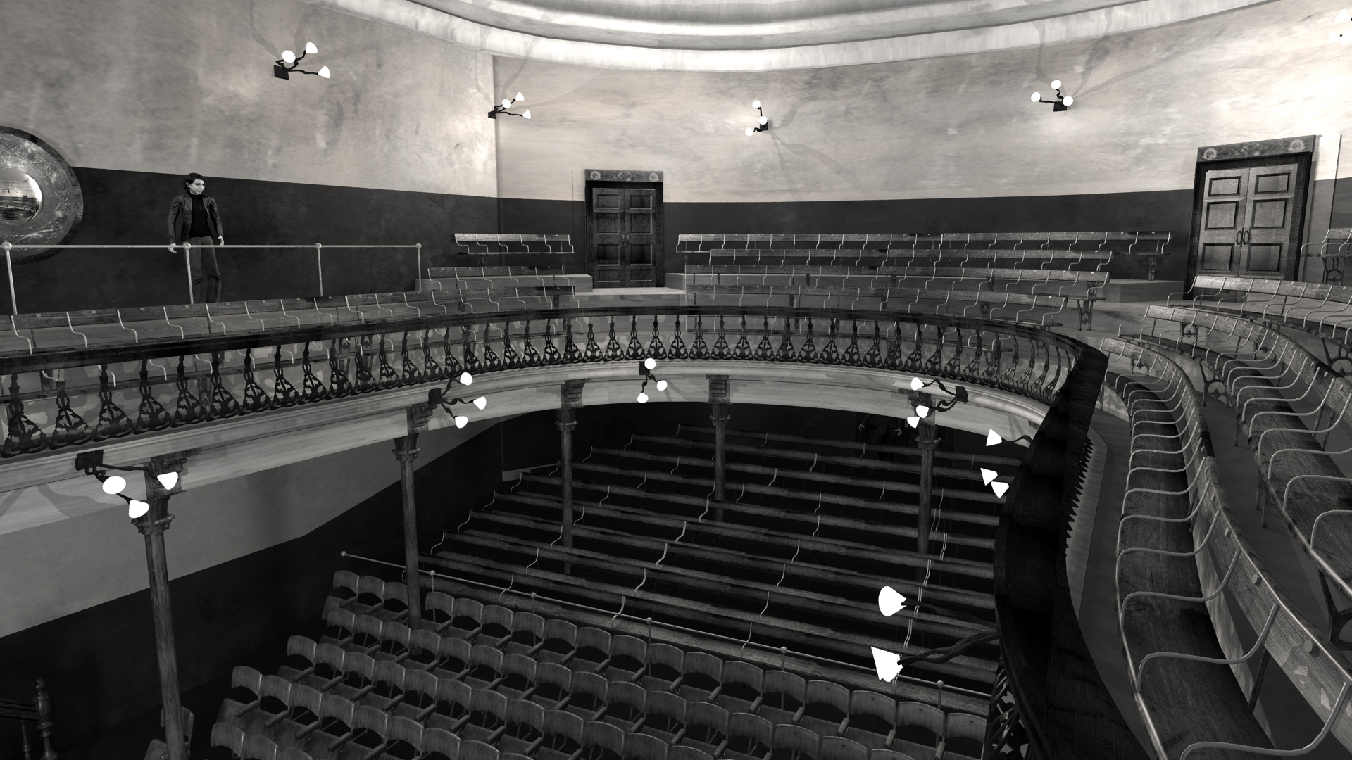 View towards Balcony of Abbey Theatre, 1904. Digital model by Hugh Denard (research) and Niall Ó hOisín/Noho (modelling), 2011.