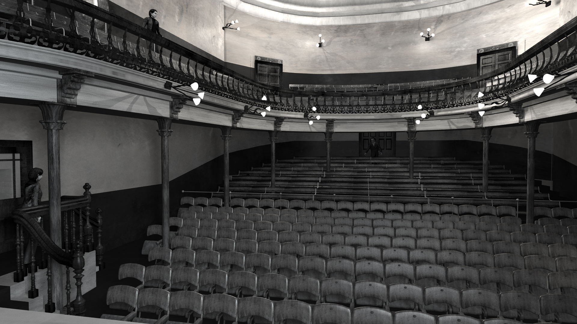 View from stage of Abbey Theatre, 1904. Digital model by Hugh Denard (research) and Niall Ó hOisín/Noho (modelling), 2011.