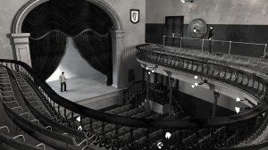 View of digital model of old Abbey Theatre c.1904, from above Balcony.