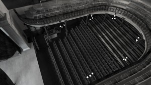 View of auditorium of digital model of old Abbey Theatre e by Hugh Denard (research) and Niall Ó hOisín/Noho (modelling), 2011.