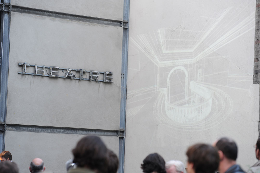 Wireframe model of the old Abbey Theatre projected onto an external wall.