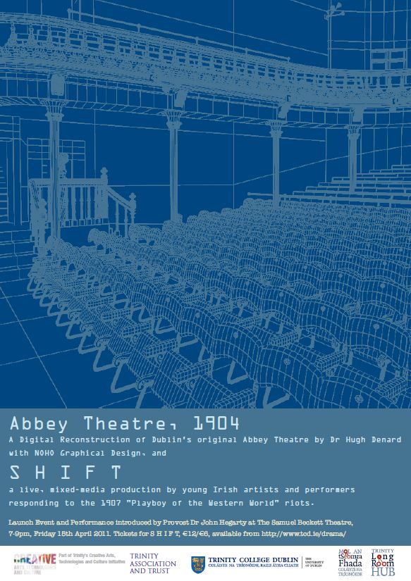 Poster for the project launch and S H I F T production at the Samuel Beckett Theatre, TCD, from 7pm on 15th April 2011