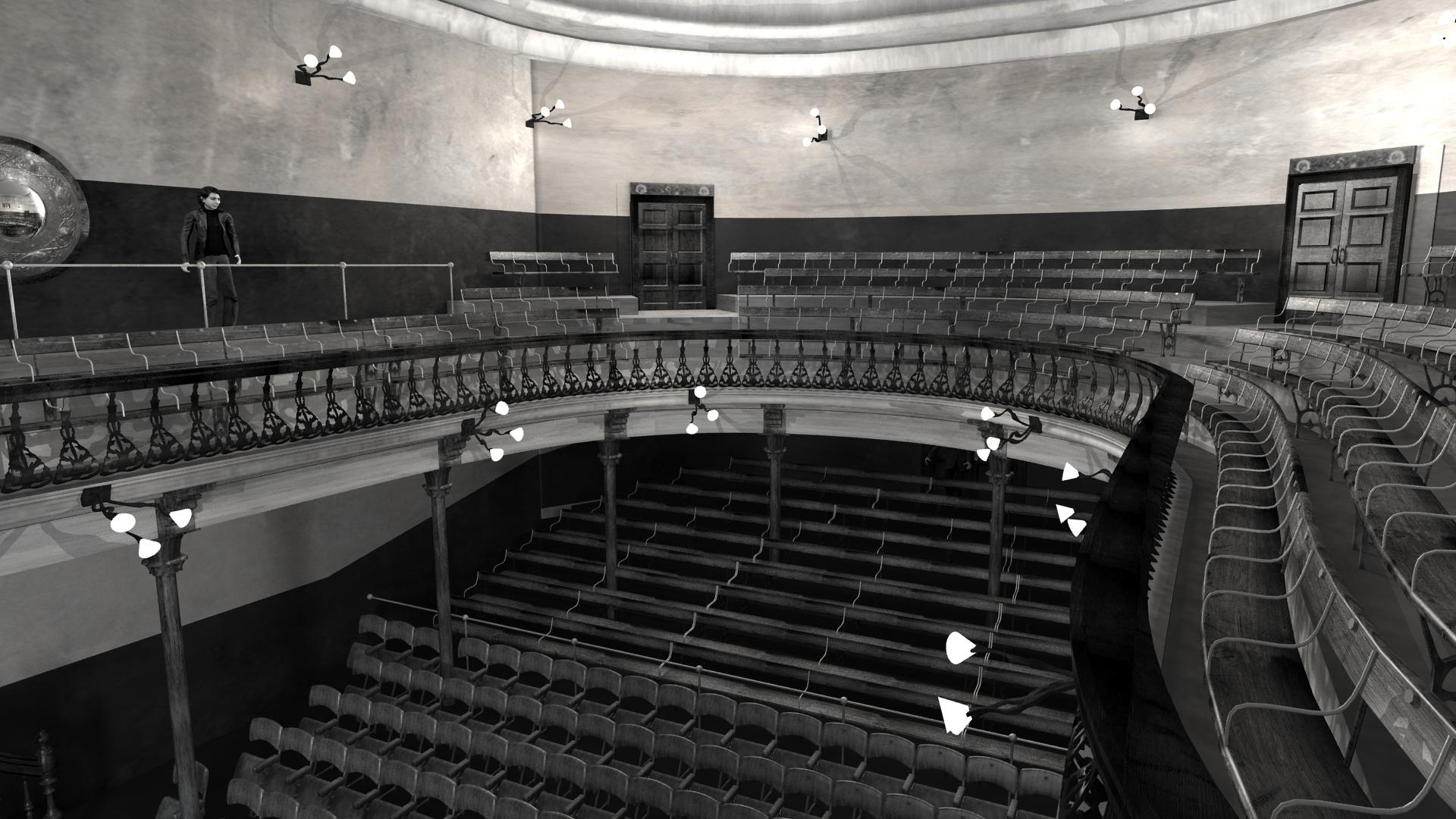 View towards Balcony of Abbey Theatre, 1904. Digital model by Hugh Denard (research) and Niall Ó hOisín/Noho (modelling), 2011.