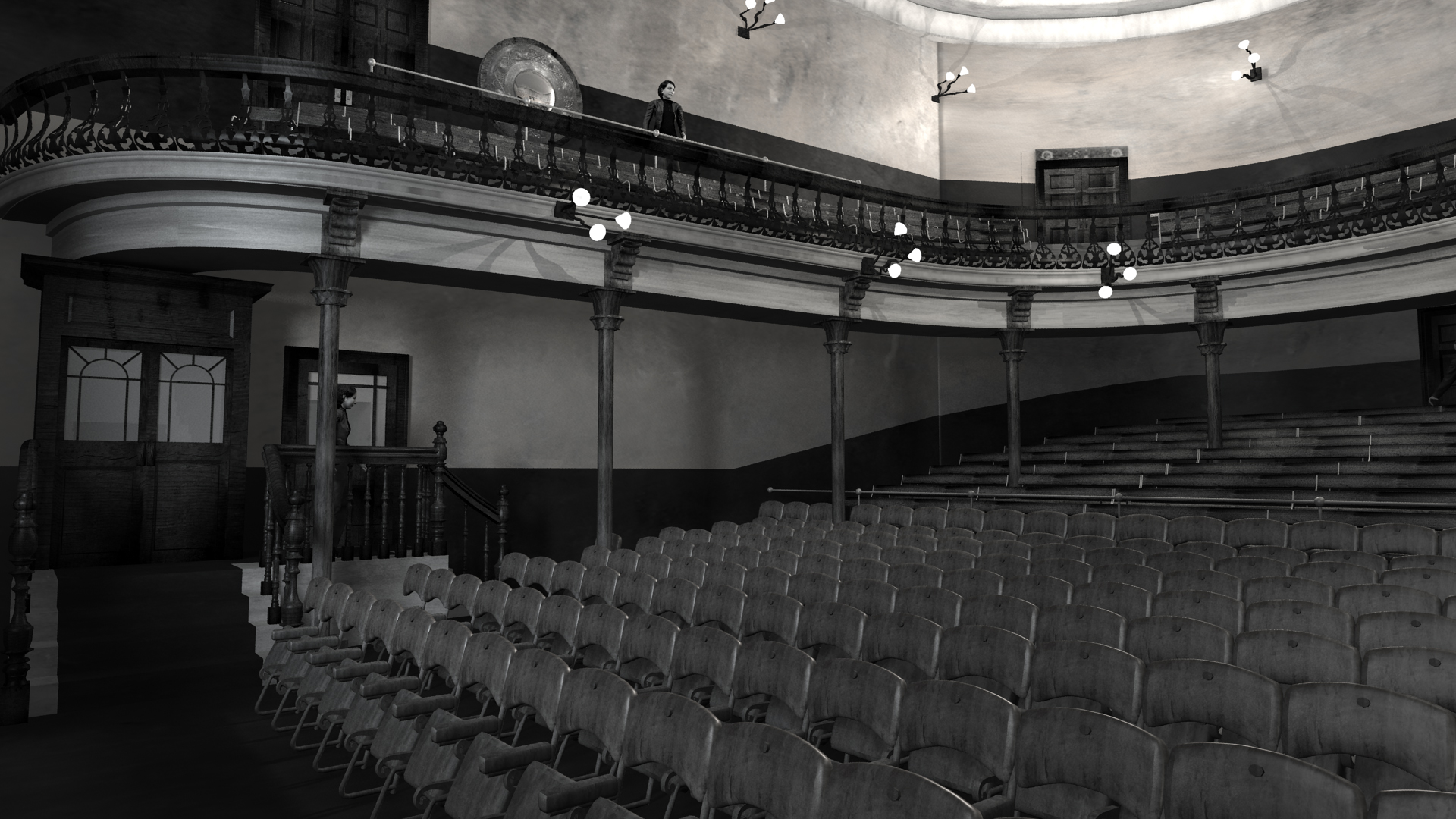 View of auditorium of Abbey Theatre, 1904. Digital model by Hugh Denard (research) and Niall Ó hOisín/Noho (modelling), 2011.